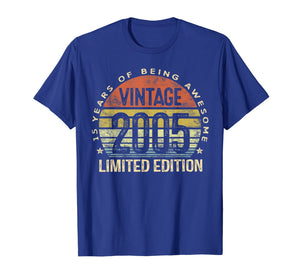 15 Year Old Gifts Vintage 2005 Limited Edition 15th Birthday T-Shirt