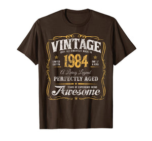 35th Birthday T-Shirt Made In 1984 Vintage 35 Years Old Gift