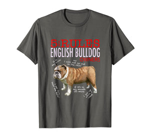 5 Rules For English Bulldog Owners T-Shirt Men Women