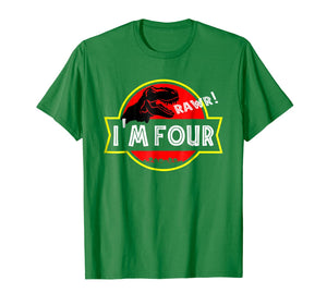4th birthday Dinosaur T-rex Shirt 4 year old Birthday Party