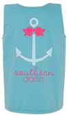 Southern Darlin Comfort Color Anchor Bow Chevron Bright Girlie T-Shirt Tank Top - SimplyCuteTees