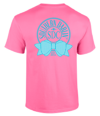 Southern Darlin Round Logo Bow Anchor Pink Bright Girlie T-Shirt - SimplyCuteTees