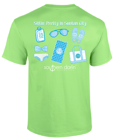 Southern Darlin Sittin Pretty in Suntan City Beach Flip Flops Summer Bright Girlie T-Shirt - SimplyCuteTees