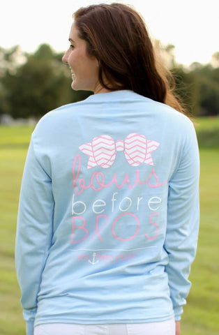 Southern Darlin Bows Before Bros Chevron Bow Funny Longsleeve Bright Girlie T-Shirt
