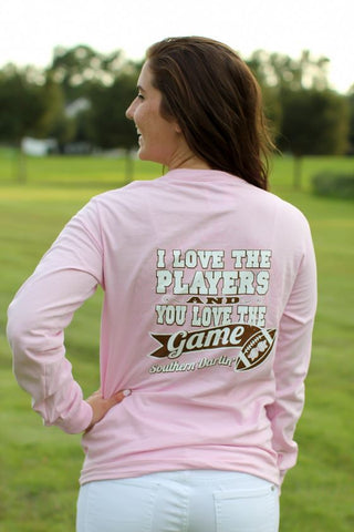 Southern Darlin I Love the Players & You Love the Game Football Bow Longsleeve Bright Girlie T-Shirt - SimplyCuteTees