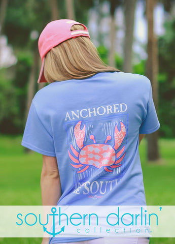 Southern Darlin Anchored in the South Crab Bright Girlie T-Shirt