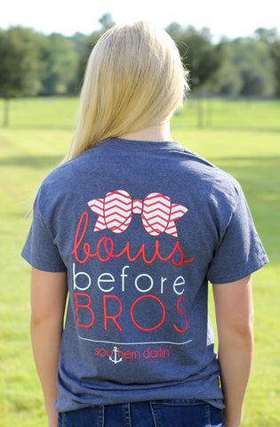 Southern Darlin Funny Bows Before Bros Chevron Bow Anchor Bright Girlie T-Shirt