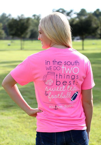 Southern Darlin In the South Football & Sweet Tea Bright Girlie T-Shirt - SimplyCuteTees