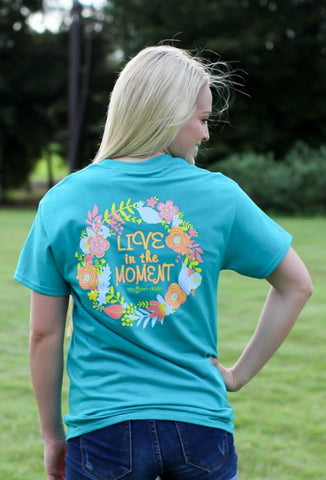 Southern Darlin Live in the Moment Flower Tropical Bright Girlie T-Shirt - SimplyCuteTees