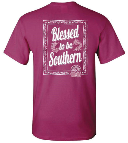 Southern Darlin Blessed to be Southern Bow Bright Girlie T-Shirt - SimplyCuteTees
