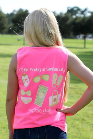 Southern Darlin Sitting Pretty in Suntan City Beach Comfort Colors Bright Girlie T-Shirt Tank Top