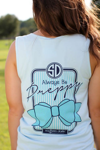 Southern Darlin Always Be Preppy Bow Comfort Colors Bright Girlie T-Shirt Tank Top - SimplyCuteTees
