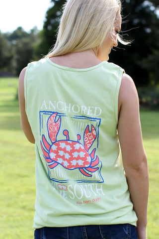 Southern Darlin Anchored in the South Crab Comfort Colors Bright Girlie T-Shirt Tank Top - SimplyCuteTees