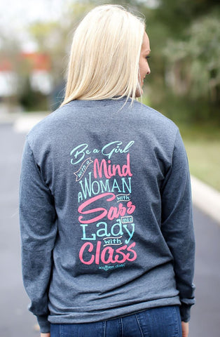 Southern Darlin Lady With Class Longsleeve Bright Girlie T-Shirt - SimplyCuteTees