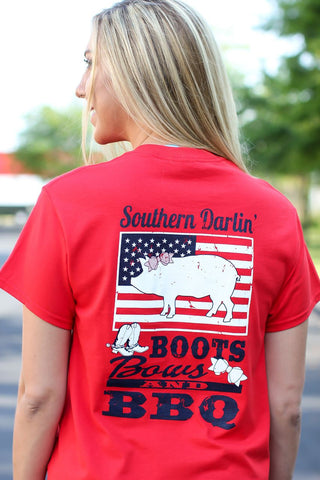 Southern Darlin Boots Bows & BBQ USA Flag Pig Bright Girlie T-Shirt - SimplyCuteTees