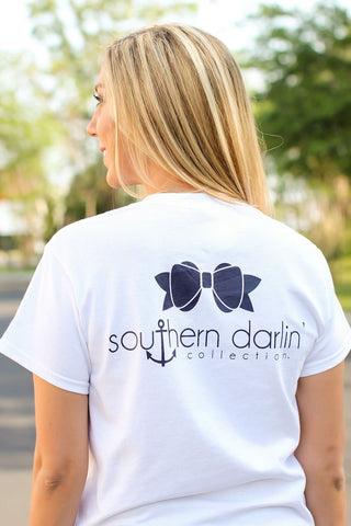 Southern Darlin Classic Bow Anchor Logo White Bright Girlie T-Shirt