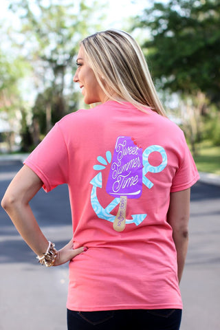 Southern Darlin Sweet Summer Time Anchor Popsicle Bright Girlie T-Shirt