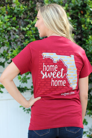 Southern Darlin Florida State Home Sweet Home FL Pattern Arrow Bright Girlie T-Shirt - SimplyCuteTees