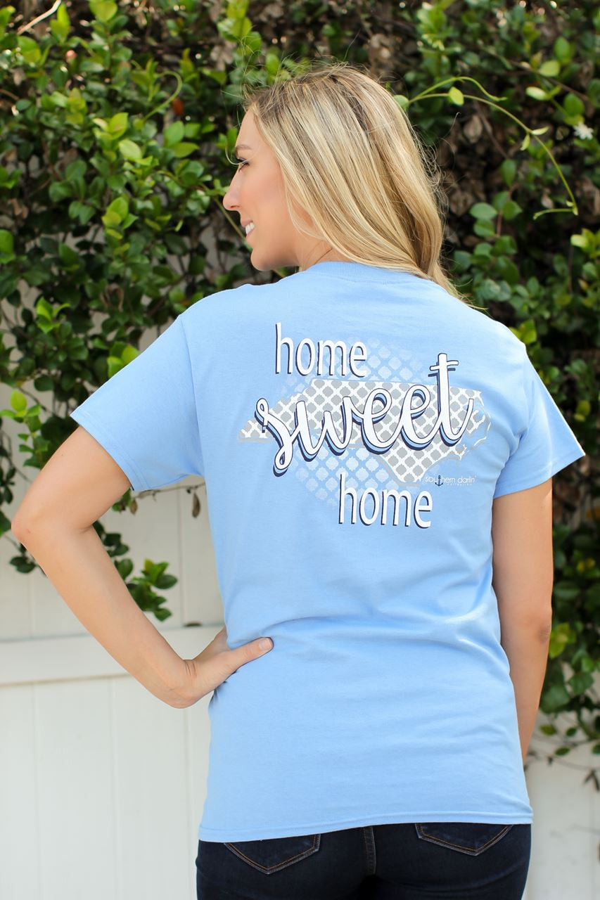 Southern Darlin North Carolina State Home Sweet Home NC Pattern Bright Girlie T-Shirt - SimplyCuteTees