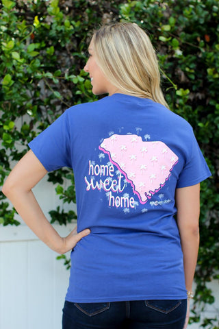 Southern Darlin South Carolina State Home Sweet Home SC Pattern Palm Tree Bright Girlie T-Shirt - SimplyCuteTees