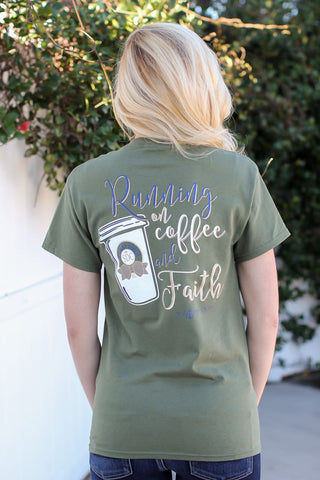 Southern Darlin Running on Coffee & Faith Christian Bright Girlie T-Shirt
