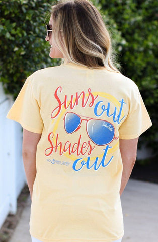 Southern Darlin Suns Out Shade Out Sunglasses Summer Bright Girlie T-Shirt - SimplyCuteTees