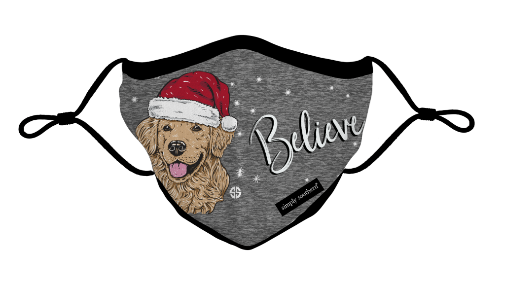 Simply Southern Preppy Believe Santa Dog Holiday Protective Mask