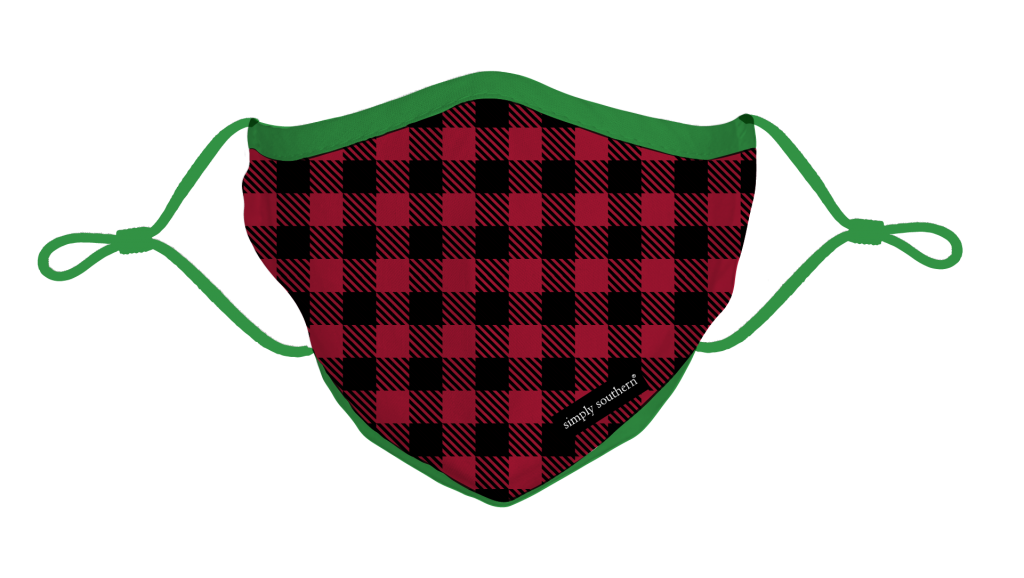 Simply Southern Preppy Holiday Gingham Protective Mask