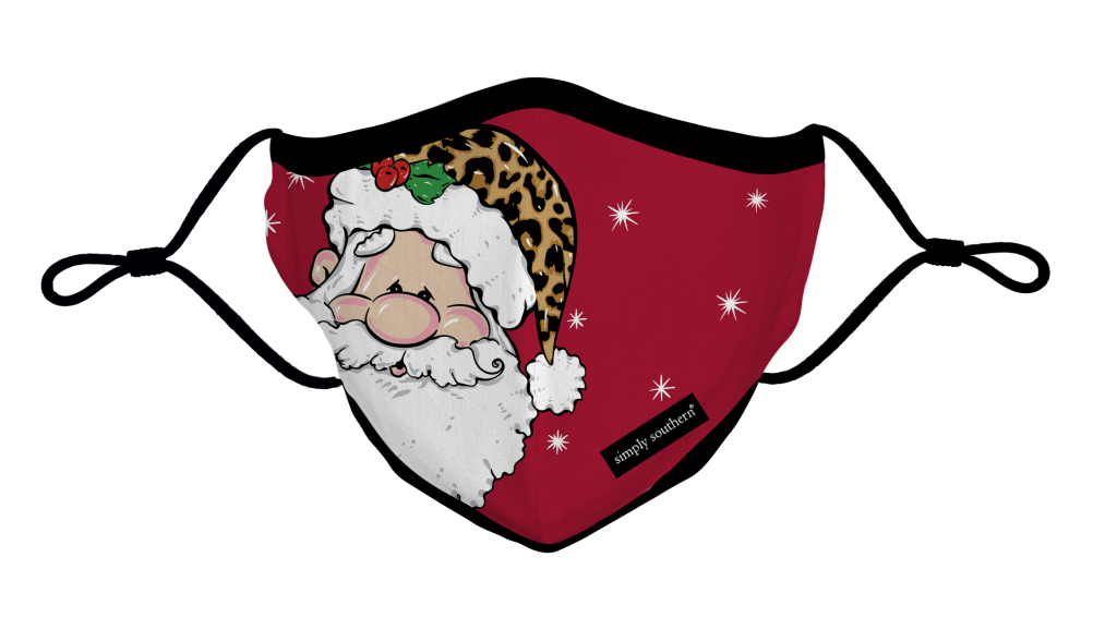 Simply Southern Preppy Leopard Santa Holiday Protective Mask