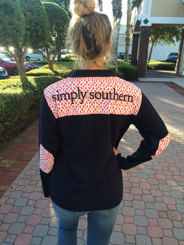 SALE Simply Southern Pullover Navy Vine Pattern Long Sleeve Sweatshirt Jacket Sweater