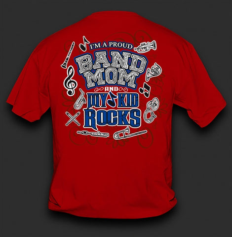 Sweet Thing Funny Proud Band Mom My Kid Rocks Red Girlie Bright T-Shirt - SimplyCuteTees