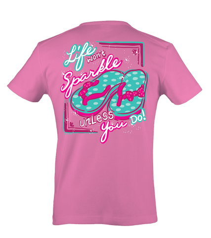 Itsa girl Thing Life Won't Sparkle Unless You Do Glitter Flip Flops Bow Bright Girlie T-Shirt