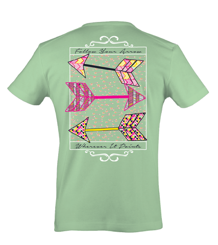 Itsa girl Thing Follow Your Arrow Wherever it Points Arrows Bright Girlie T-Shirt