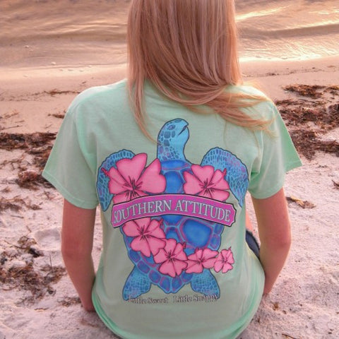 Country Life Outfitters Southern Attitude Snappy Sea Turtle Flower Mint Vintage Girlie Bright T Shirt - SimplyCuteTees