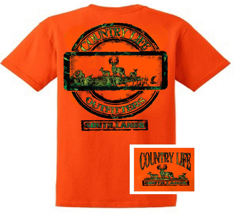Country Life Outfitters Deer Southlands Hill Hunt Vintage Unisex Orange Bright T Shirt - SimplyCuteTees