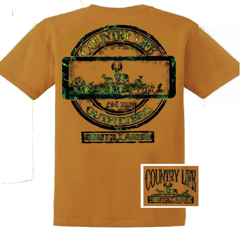 Country Life Outfitters Deer Southlands Hill Hunt Vintage Unisex Tan Bright T Shirt - SimplyCuteTees