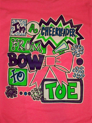 Southern Chics Cheerleader from Bow to Toe Girlie  Bright T Shirt
