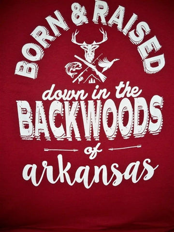 Backwoods Born & Raised Arkansas Deer Hunt Unisex Bright T Shirt
