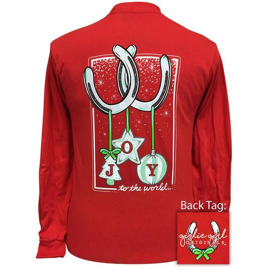 Girlie Girl Originals Joy To The World Christmas Horseshoes Long Sleeves T Shirt