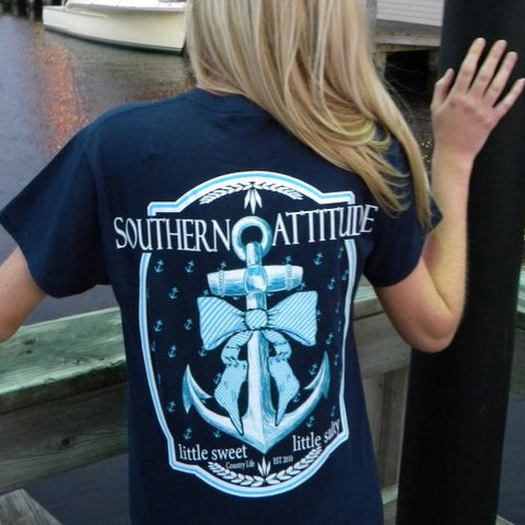 Country Life Outfitters Southern Attitude Anchor Big Bow Sweet Vintage Girlie Bright T Shirt - SimplyCuteTees