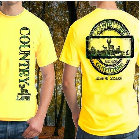 Country Life Outfitters Big Buck Deer Hunt Vintage Unisex Yellow Bright T Shirt - SimplyCuteTees