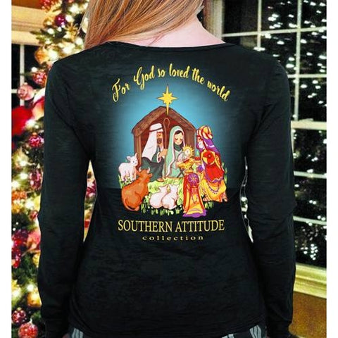 Southern Attitude Nativity Faith Holiday Black Long Sleeve T-Shirt