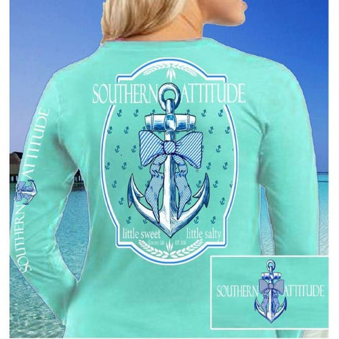 Country Life Outfitters Southern Attitude Anchor Big Bow Mint Vintage Girlie Bright Long Sleeves T Shirt - SimplyCuteTees