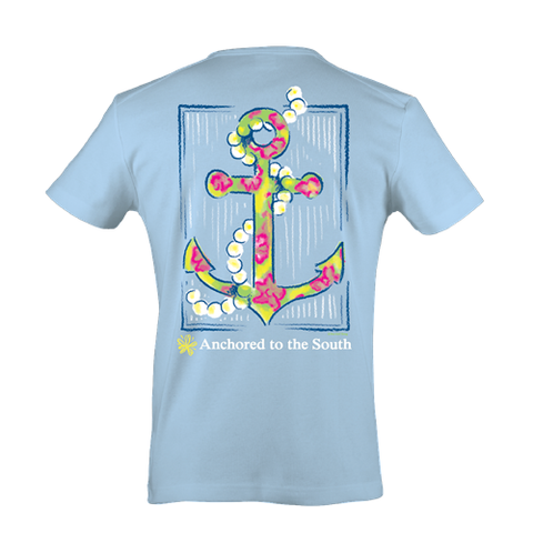 Itsa girl Thing Straight Up Southern Collection Anchor Pearls South Blue Bright T Shirt - SimplyCuteTees