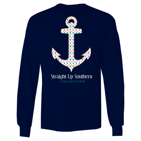 Itsa girl Thing Straight Up Southern Collection Anchor Girlie Bright Long Sleeves T Shirt - SimplyCuteTees