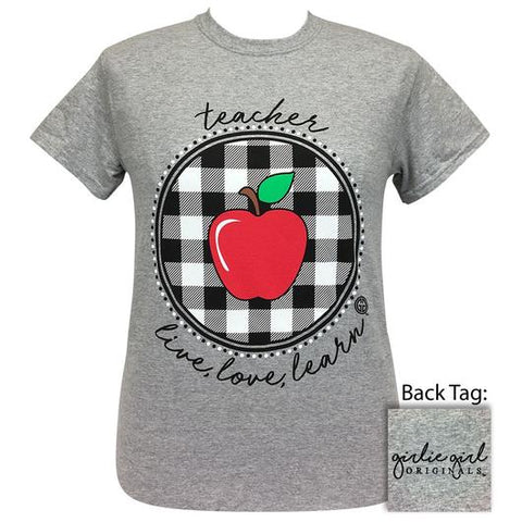 Girlie Girl Originals Preppy Teacher Live Love Learn Plaid T-Shirt