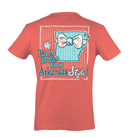 Itsa girl Thing Put a Bow On It Arkansas Style State Southern Bright Girlie T-Shirt