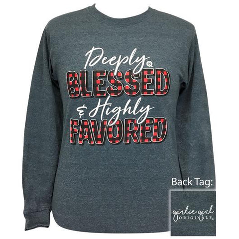 Girlie Girl Originals Preppy Deeply Blessed Plaid Fall Long Sleeve T-Shirt