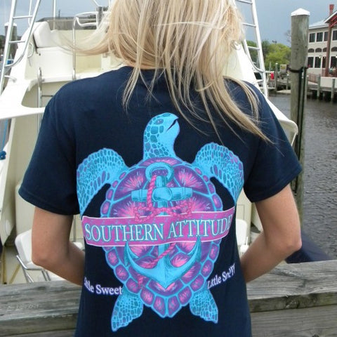 Country Life Outfitters Southern Attitude Snappy Turtle Anchor Bow Navy Vintage Girlie Bright T Shirt - SimplyCuteTees