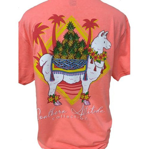 Southern Attitude Coral Preppy Pineapple Llama T-Shirt
